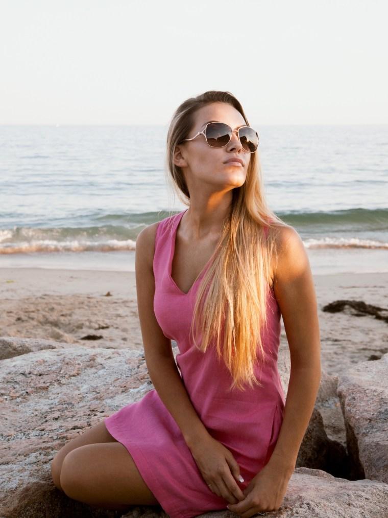 Linen Pink, V Neck Dress
