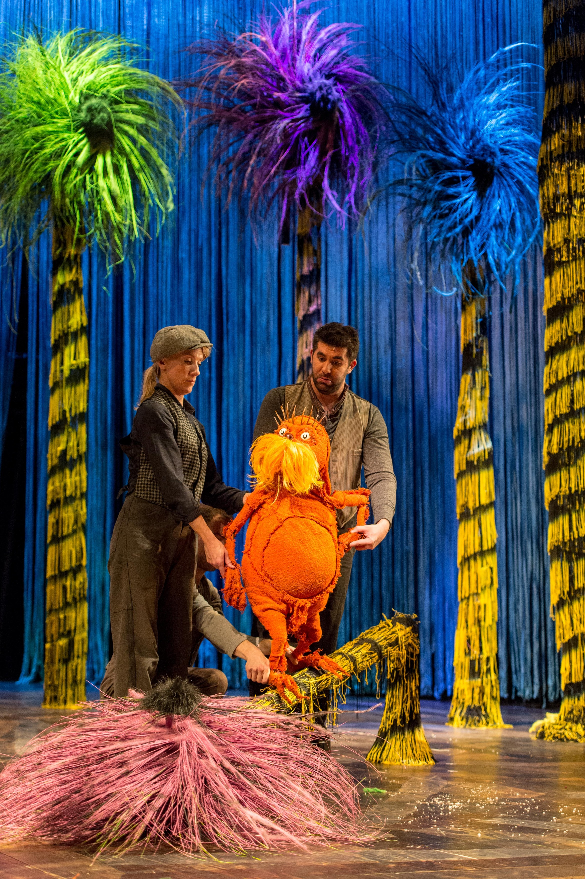 Laura Cubitt (Puppeteer), Ben Thompson (Puppeteer) and Simon Lipkin (The Lorax) -  The Lorax at The Old Vic. Photos by Manuel Harlan. (1)