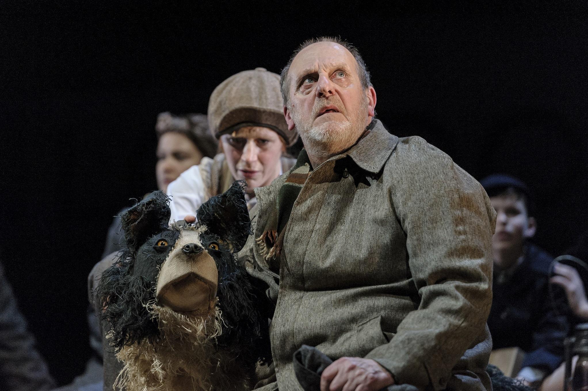 13. David Troughton (Tom Oakley) and Elisa de Grey (Puppeteer for Sammy the dog) in Goodnight Mister Tom 2015 Credit Dan Tsantilis.jpg
