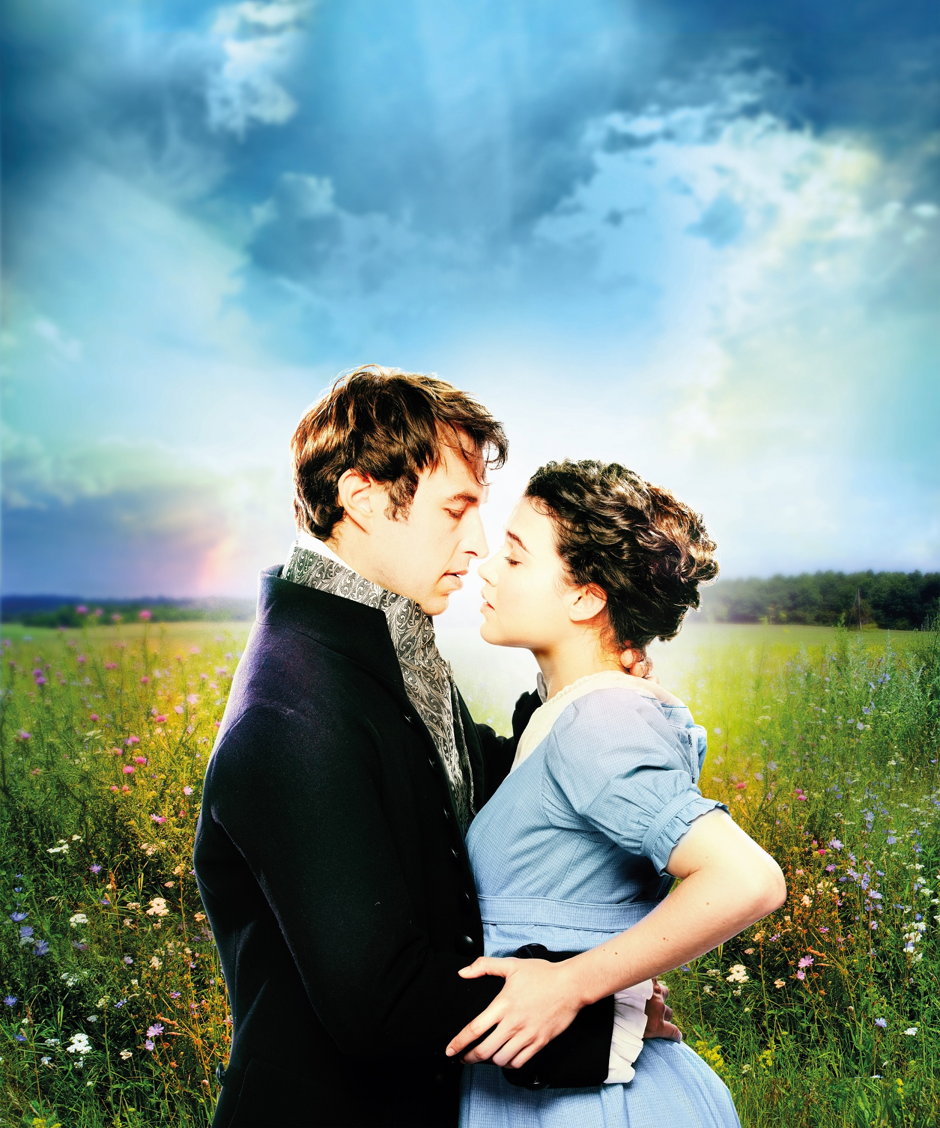 Benjamin Dilloway as Mr Darcy and Tafline Steen as Elizabeth Bennet in Pride and Prejudice. Photo Simon Turtle. Artwork Feast Creative