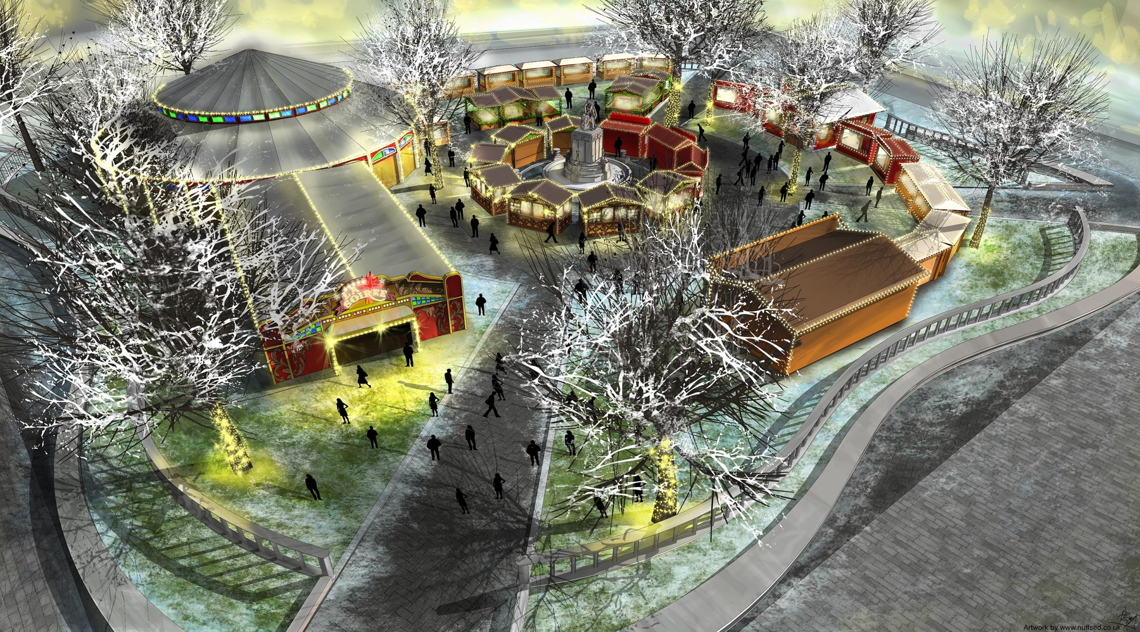 Artist's impression of Christmas in Leicester Square. Artwork by Nuffsed.co.uk.jpg