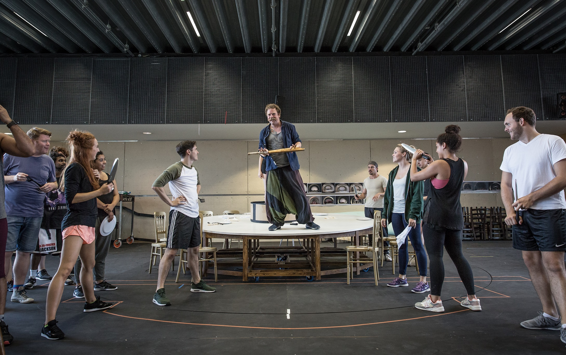 Rufus Hound and company members in rehearsals for The Wind in the Willows. Photo by Marc Brenner Copyright Jamie Hendry Productions.jpg.jpg