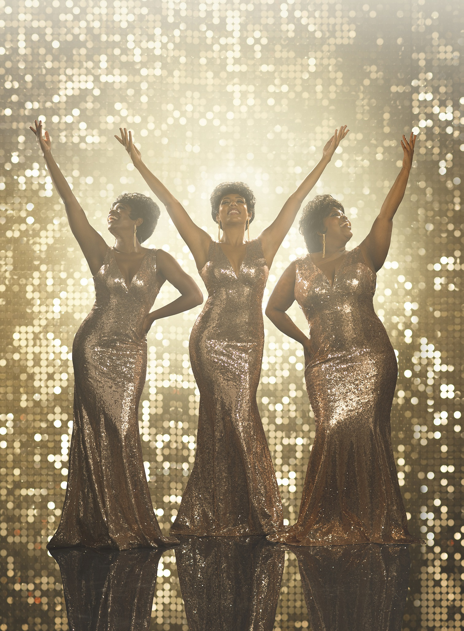 Amber Riley as Effie White, Liisi LaFontaine as Deena Jones, Ibinabo Jack as Lorrell Robinson in Dreamgirls. Credit Greg Williams.jpg.jpg