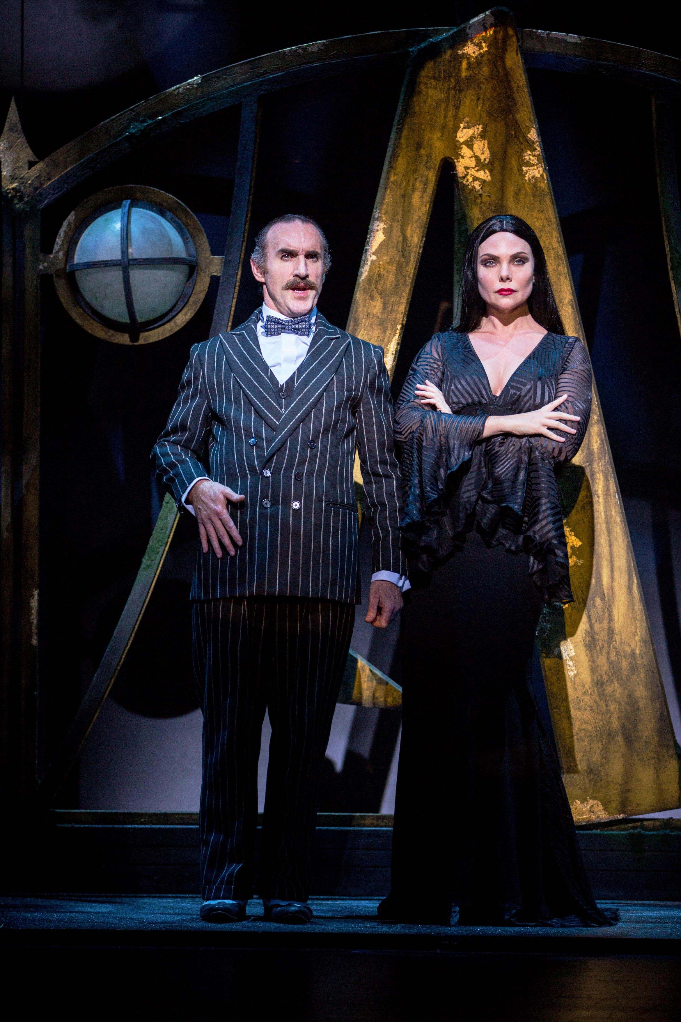 Cameron Blakely as Gomez Addams and Samantha Womack as Morticia Addams in THE ADDAMS FAMILY. Credit Matt Martin.jpg