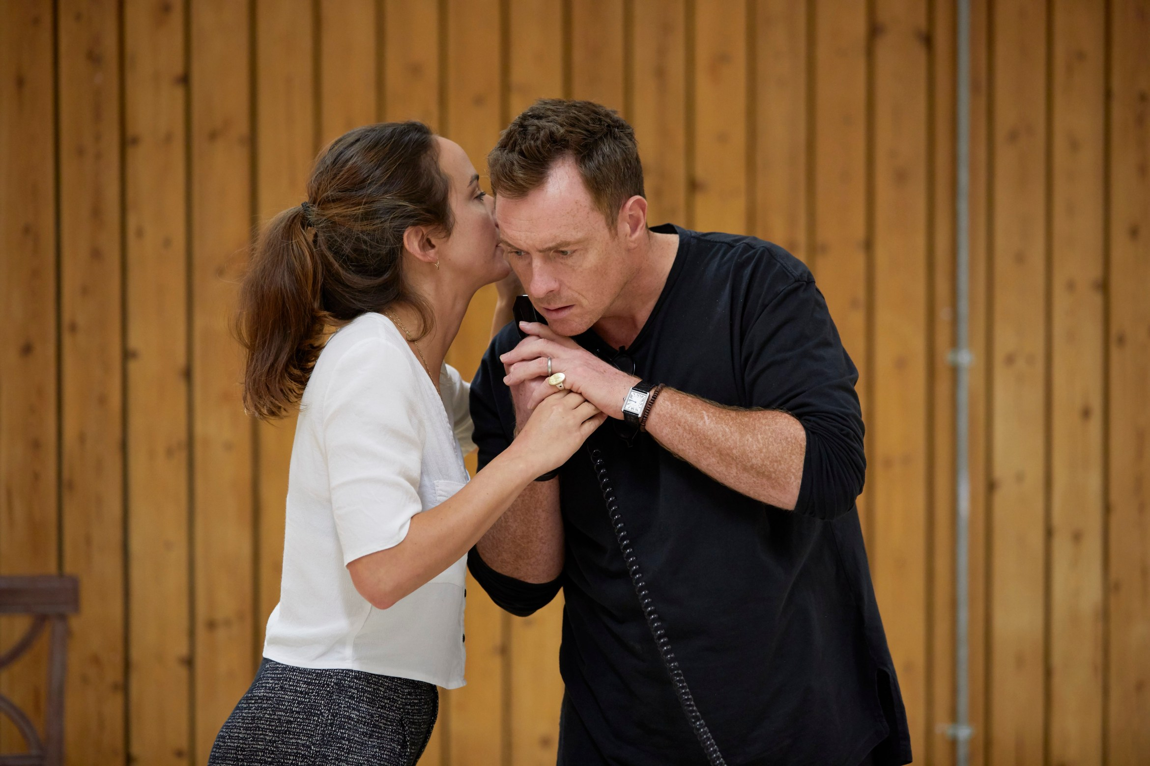 l-r Lydia Leonard and Toby Stephens in rehearsal for 'Oslo' - photo credit Brinkhoff Mögenberg.988-0117
