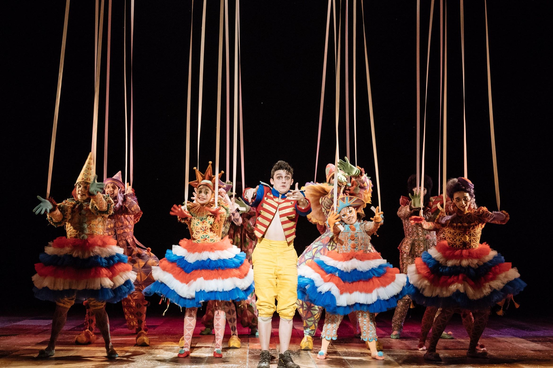 A scene from Pinocchio, centre Joe Idris-Roberts (Pinocchio)
