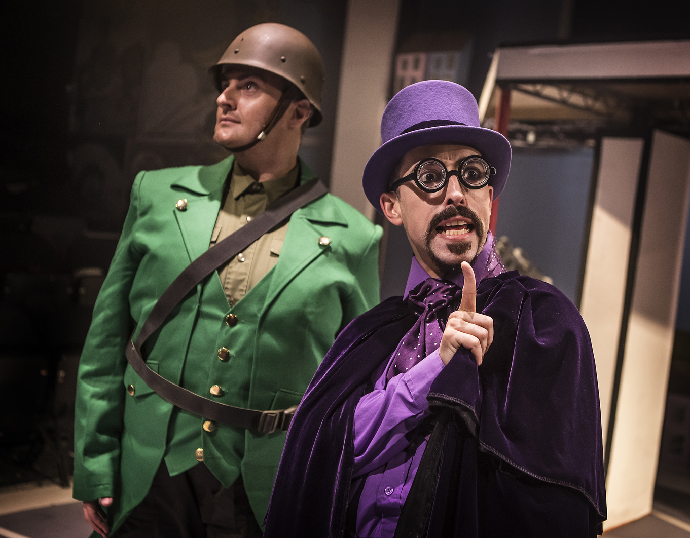Bananaman The Musical 2 Carl Mulaney (General Blight) Marc Pickering (Dr Gloom) Photo  by Pamela Raith.jpg