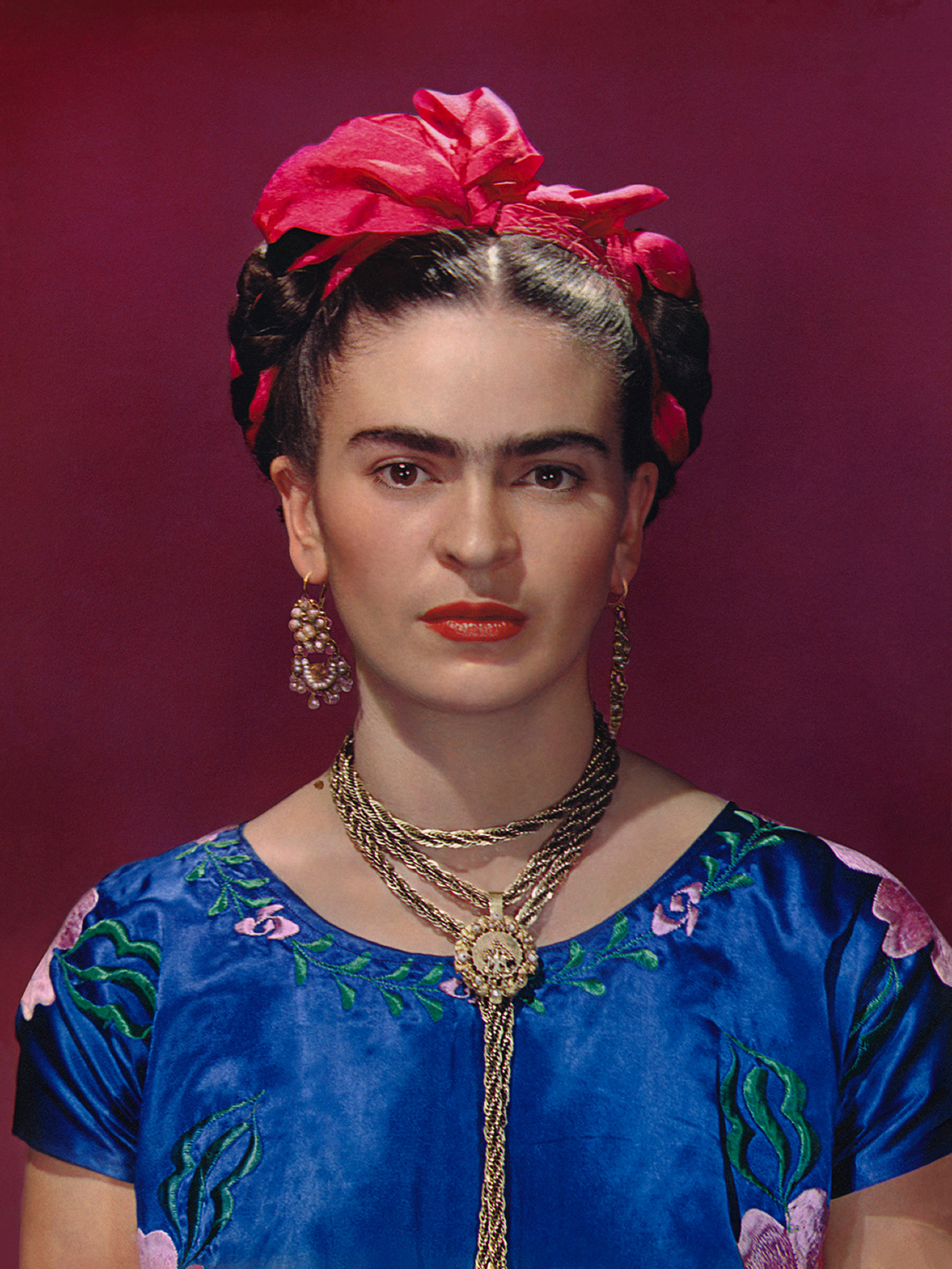 Frida Kahlo in blue satin blouse, 1939. Photograph Nickolas Muray © Nickolas Muray Photo Archives.jpg