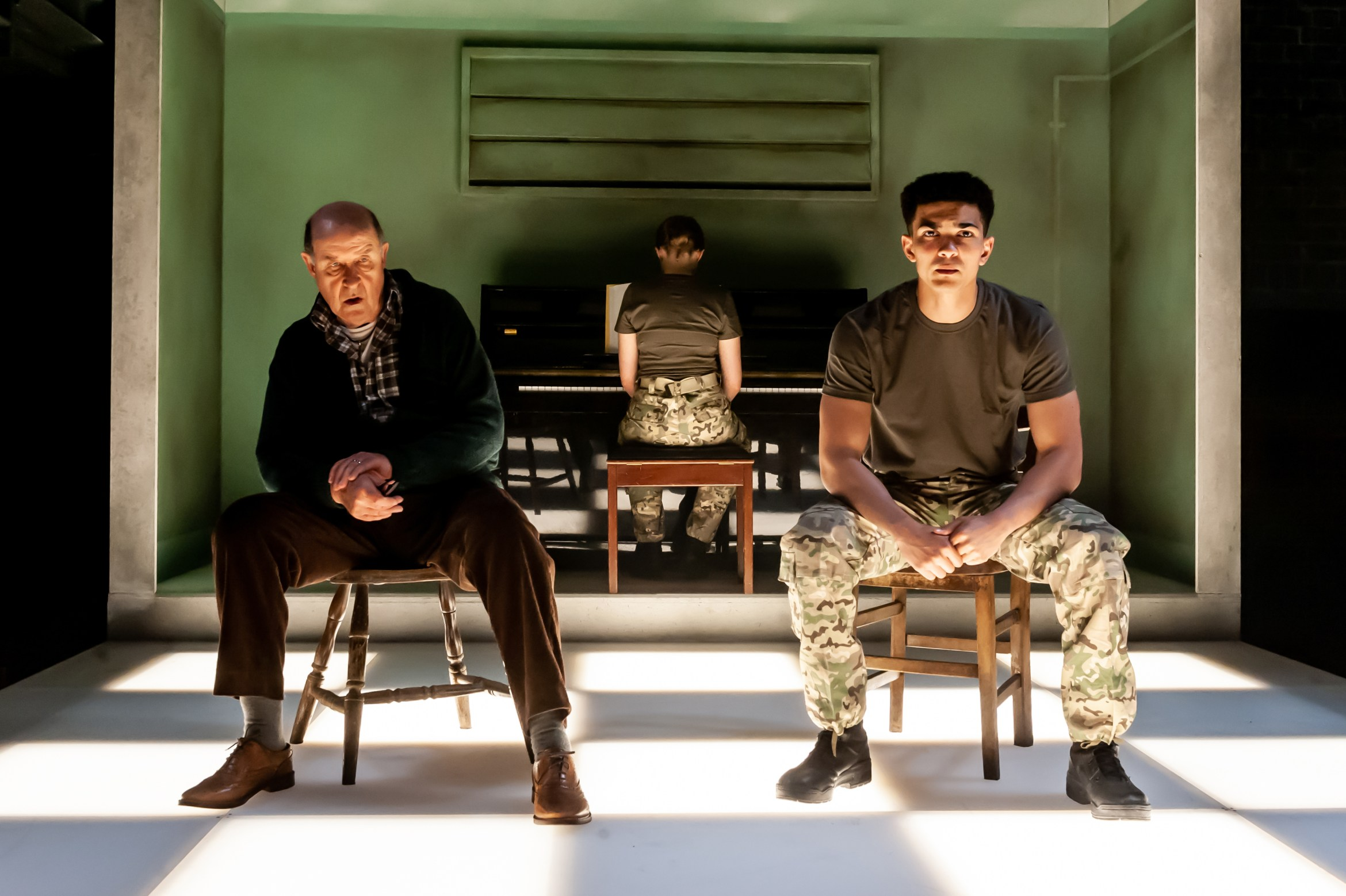 Not Talking at the Arcola Theatre. David Horovitch (James) Laurence Walker (Mark) Photo by Lidia Crisafulli.jpg