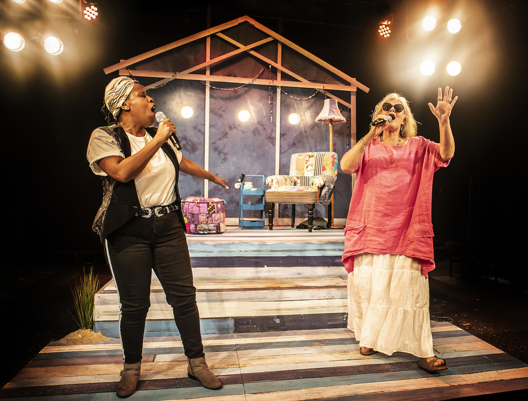 L-R Melanie Marshall (Lou) & Janet Fullerlove (Joy) - Unexpected Joy at Southwark Parkhouse (c) Pamela Raith Photography_011