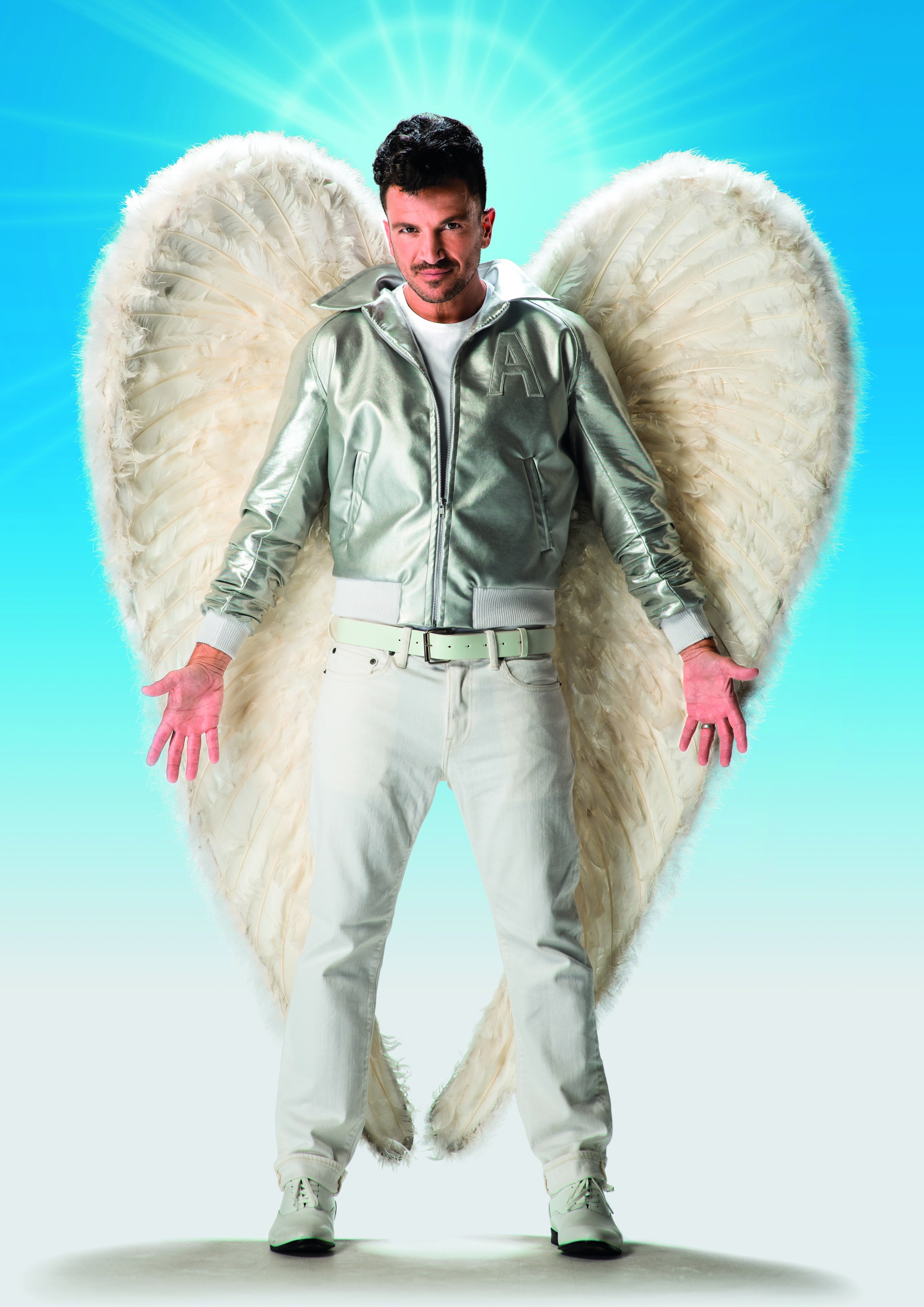 Peter Andre as Teen Angel in Grease (blue) credit Hugo Glendinning.jpg