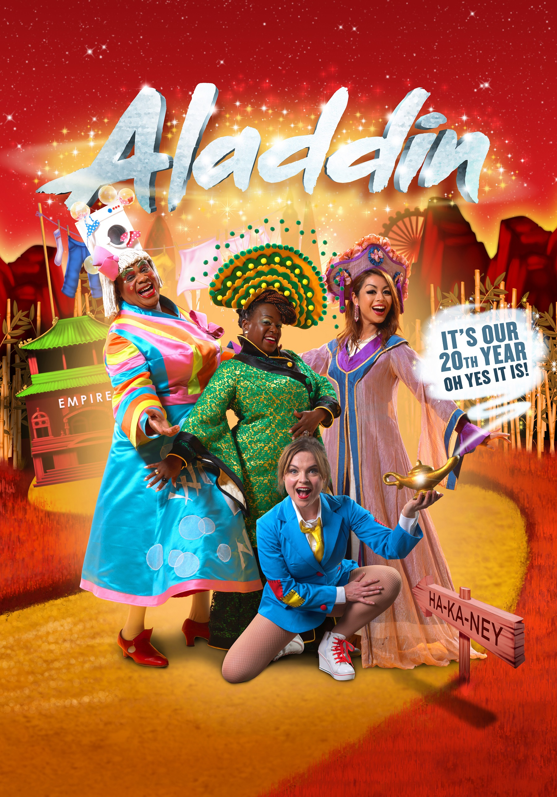 Clive-Rowe-Tameka-Empson-Julie-Yammanee-and-Gemma-Sutton-in-Hackney-Empires-20th-anniversary-pantomime-Aladdin-2