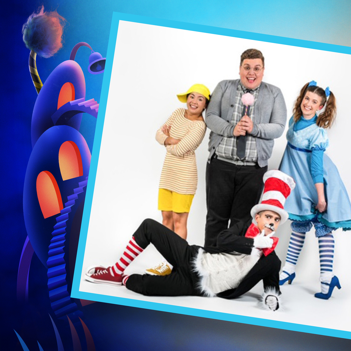 Seussical The Musical, Southwark Playhouse - Anna Barnes (Jojo), Scott Paige (Horton), Amy Perry (Gertrude), Marc Pickering (Cat in the Hat)