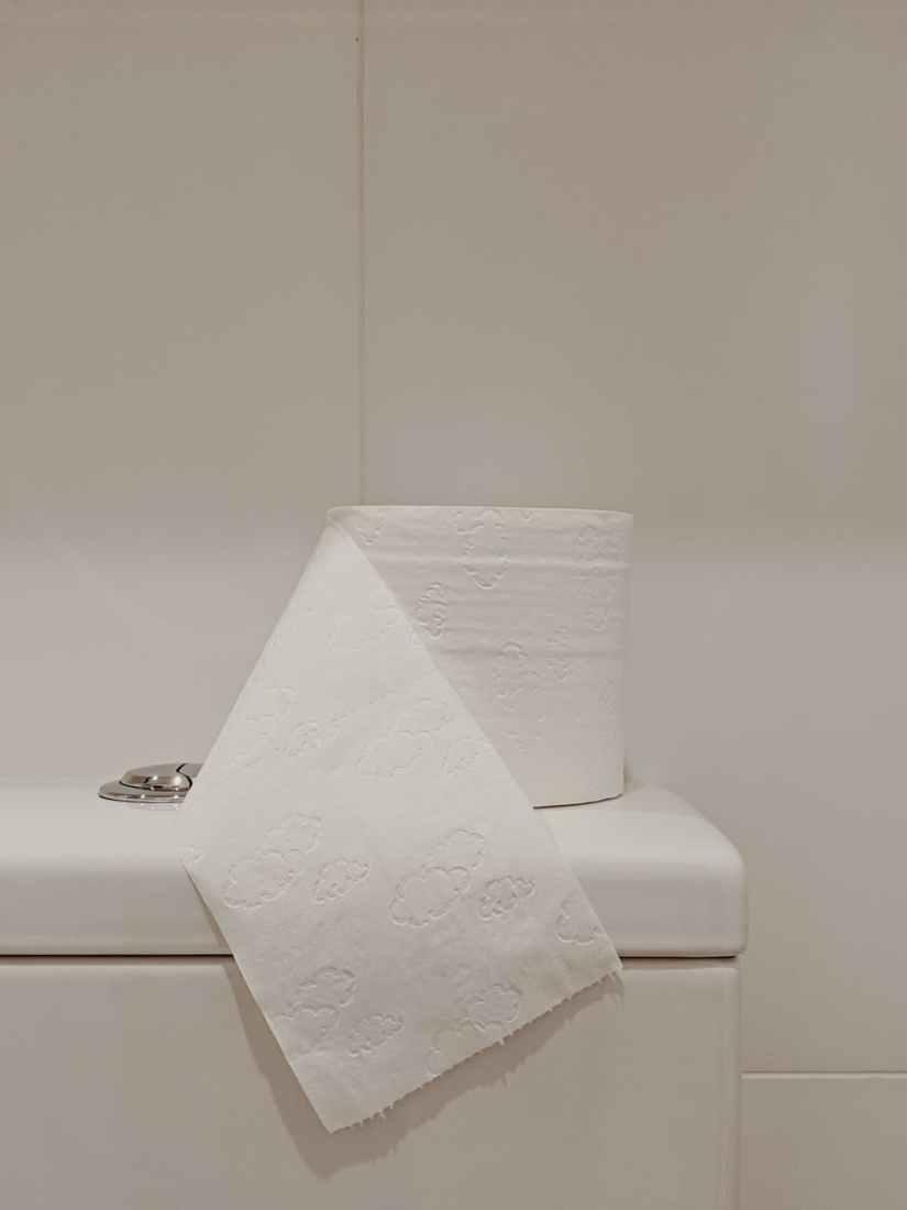 white toilet paper roll on ceramic toilet