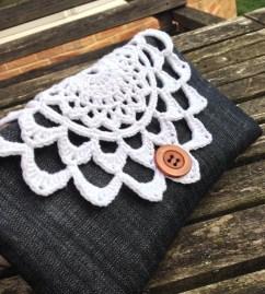 Crochet and denim purse