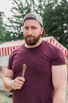 Adam with his spatula made in the Grain and Knot workshop