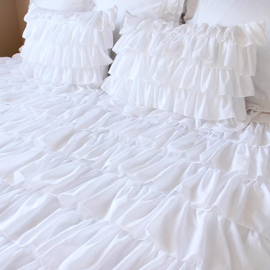 white waterfall ruffle bedding set