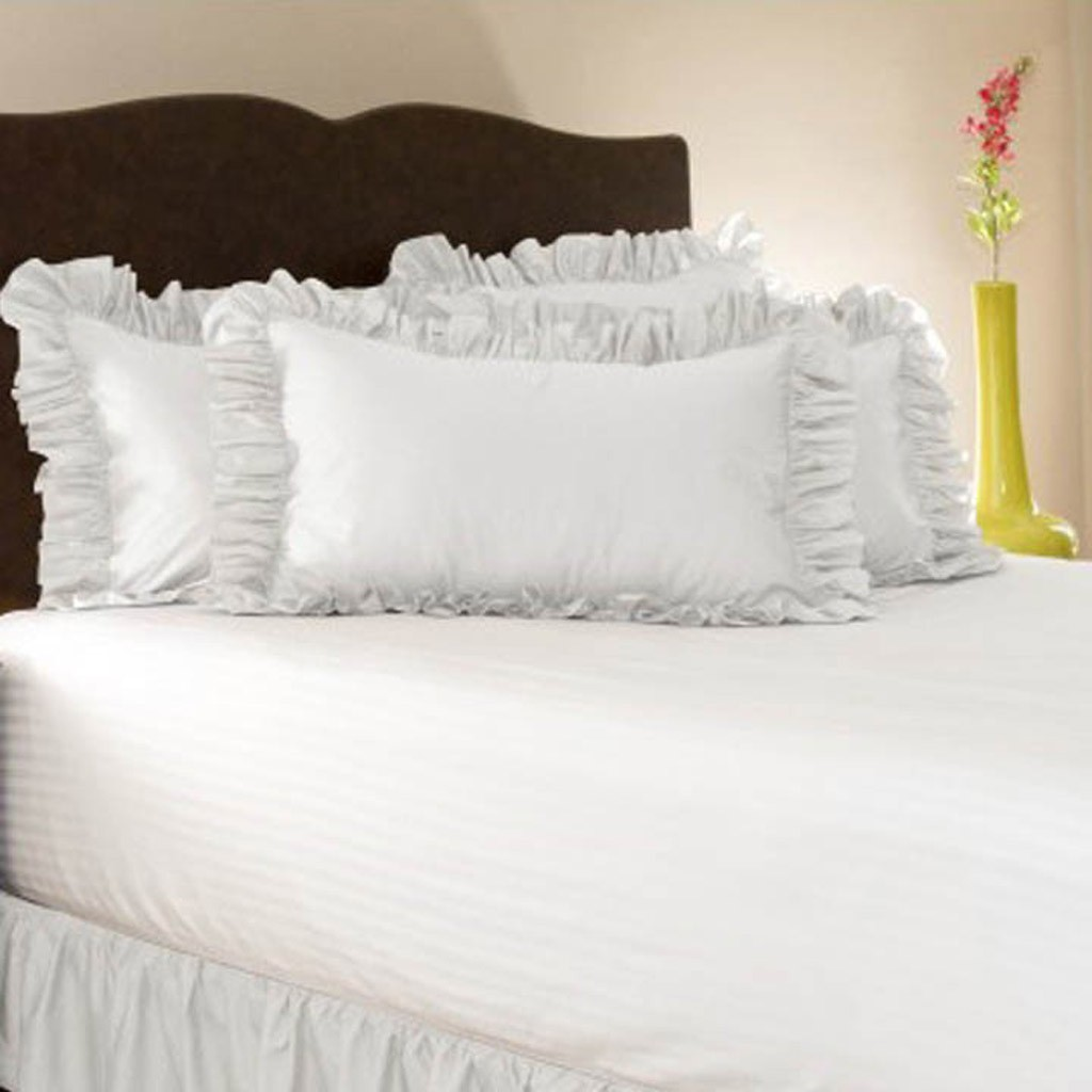 simply ruffle pillow cover white