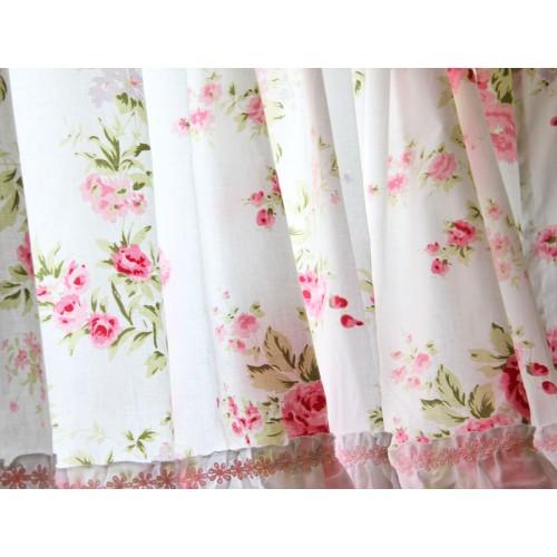 Shabby Country Chic Rose Ruffled Wildflower Pink White Kitchen Curtain Valance
