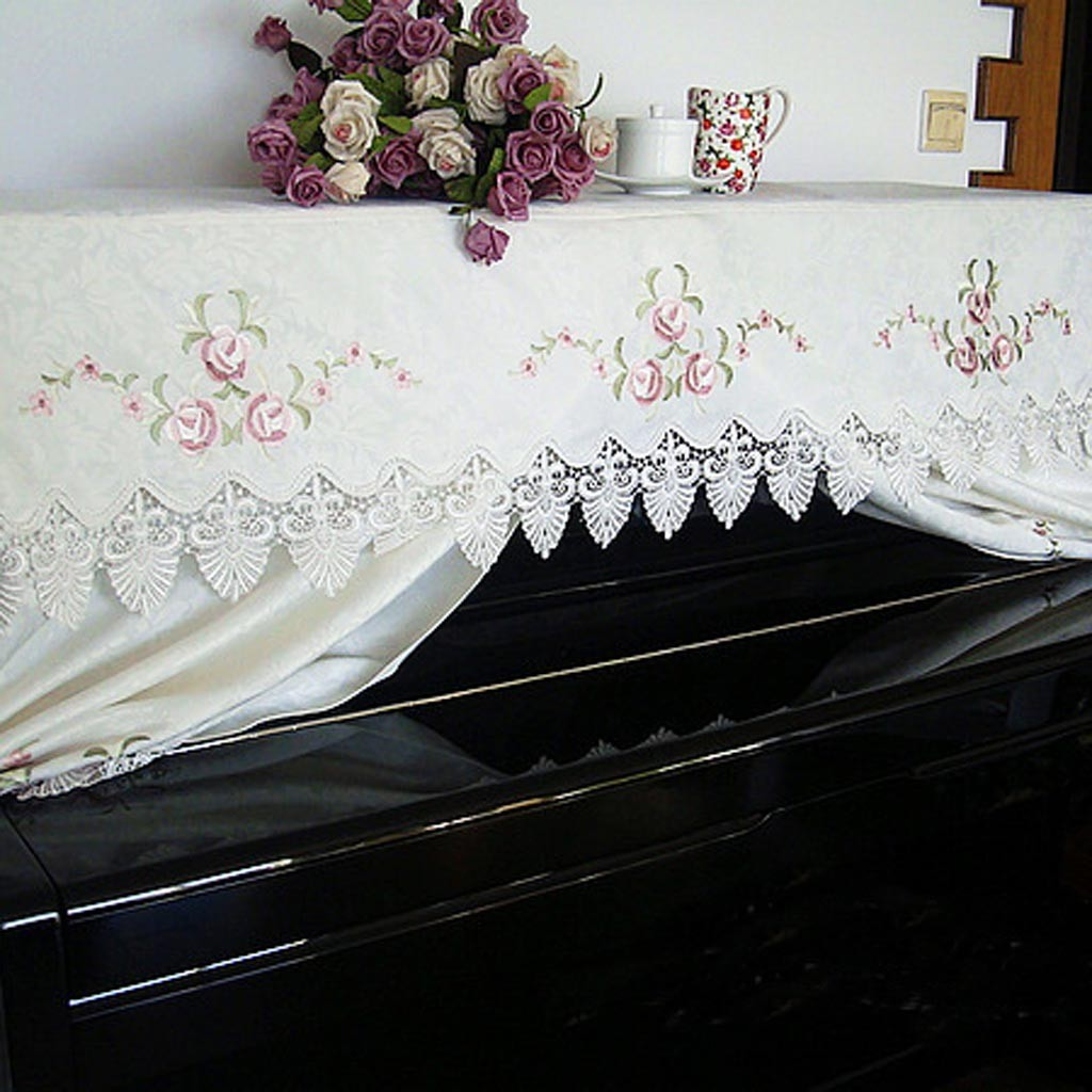 Embroidery Rose Piano Cover