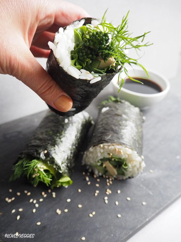 sushi, sushi wrap, vegaaninen, ravintovalmennus, ravintoneuvonta, lovelyveggies, blogi, vegaani blogi
