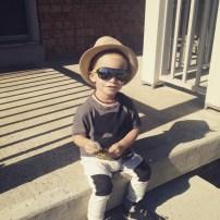 Shirt: H&;M | Pants: H&M | shoes: Old Navy | hat: Joe Fresh | Sunglasses: Carter's