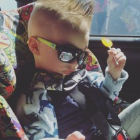Shirt: H&M | Sunglasses: Carter's | Pants: Old Navy | Car seat: Tokidoki All Over Clek Foonf