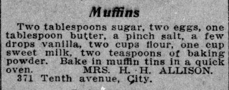 Mrs. Allison's Muffins Recipe
