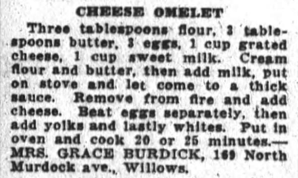 Mrs. Burdick's Cheese Omelet Recipe