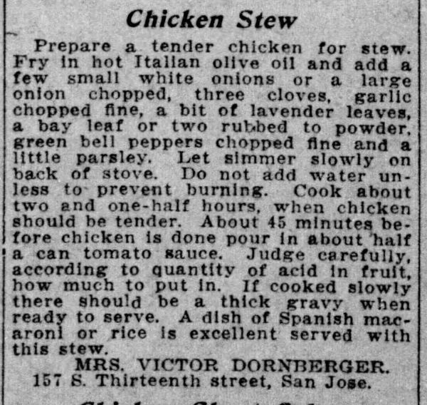 Mrs. Dornberger's Chicken Stew Recipe