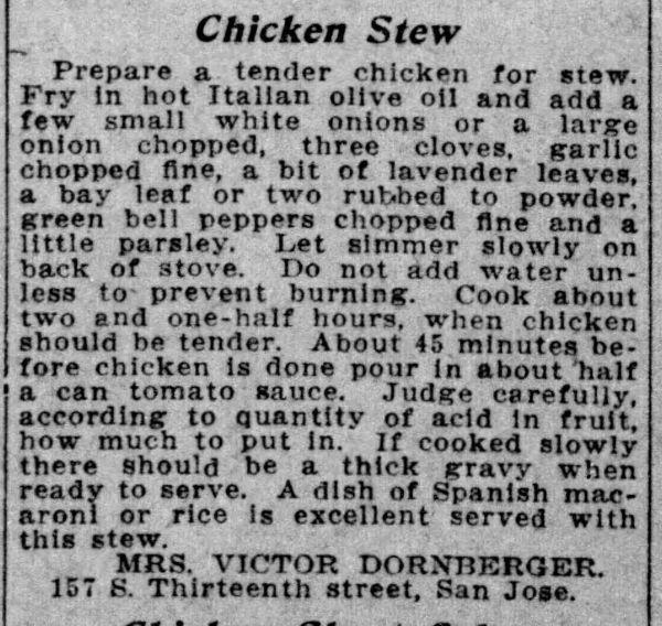 Mrs. Dornberger's Chicken Stew Recipe