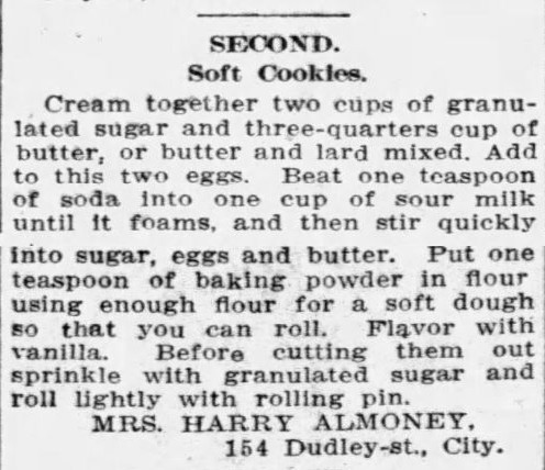 Mrs. Almoney's Soft Cookie Recipe
