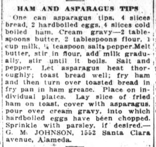 Miss Johnson's Ham And Asparagus Tips Recipe