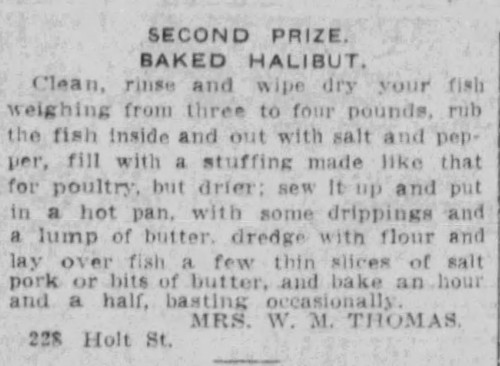 Mrs. Thomas' Baked Halibut Recipe