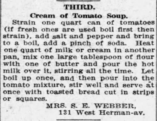 Mrs. Webber's Cream of Tomato Soup Recipe