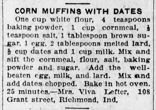 Mrs. Lefter's Corn Muffins With Dates Recipe