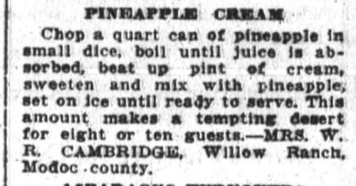 Mrs. Cambridge's Pineapple Cream