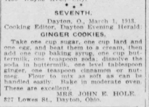 Mrs. Hole's Ginger Cookies Recipe