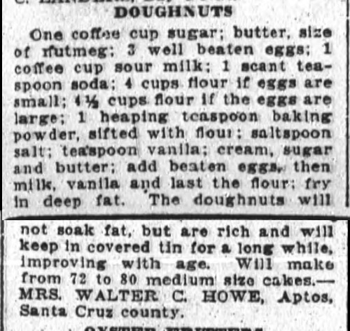 Mrs. Howe's Doughnuts Recipe