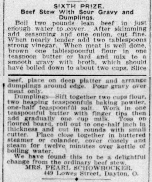 Mrs. Schowbocker's Old Fashioned Beef Stew with Sour Gravy and Dumplings Recipe