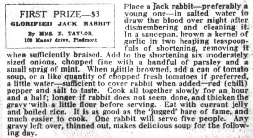 Mrs. Taylor's Glorified Jack Rabbit Recipe