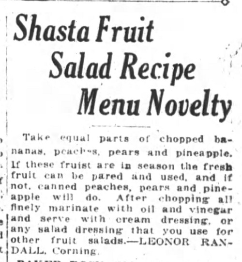 Ms. Randall's Shasta Fruit Salad Recipe