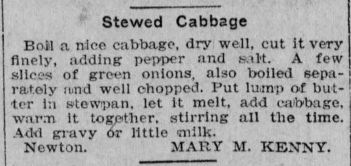 Mrs. Kenny's Stewed Cabbage Recipe