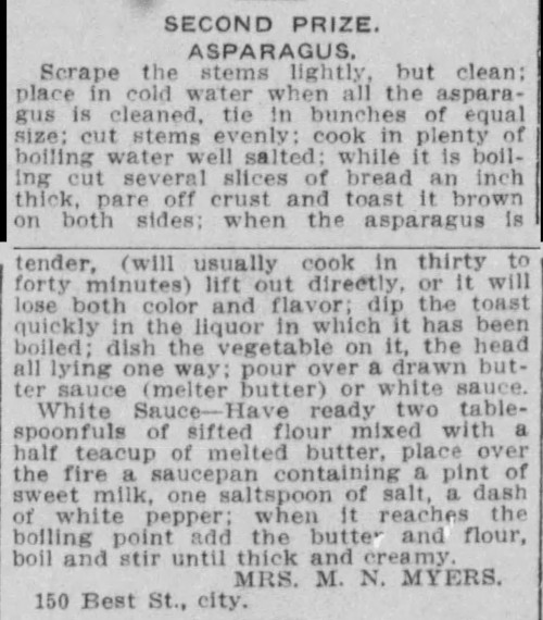 Mrs. Myers' Asparagus Recipe