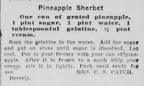 Mrs. Patch's Pineapple Sherbet Recipe