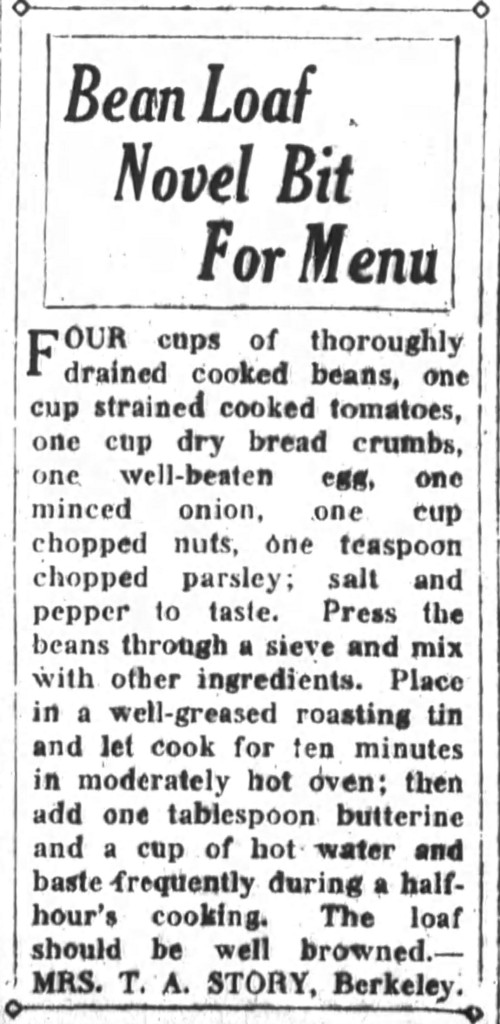 Mrs. Story's Bean Loaf Recipe