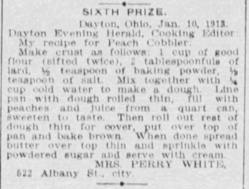 Mrs. White's Peach Cobbler Recipe