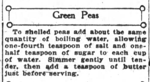 Mrs. De Graf's Green Peas Recipe