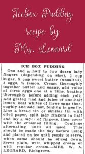 Icebox Pudding by Mrs. Leonard