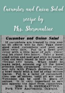Cucumber and Onion Salad by Mrs. Shermantine